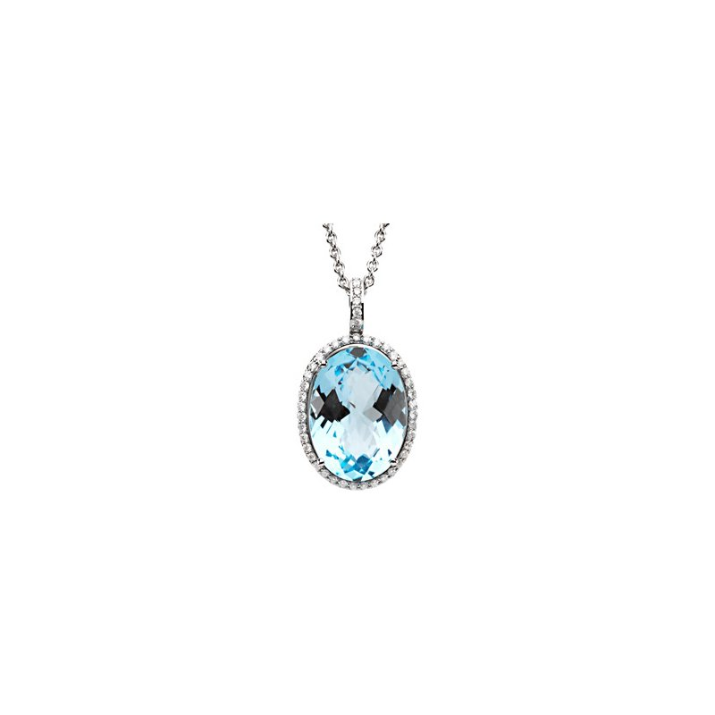 Signature Collection Genuine Checkerboard Sky Blue Topaz & Diamond Necklace