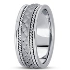 Unique Settings Unique Settings HM104 - Y - W - 14k Yellow and White Gold Handmade Handwoven 8mm Men's Wedding Band