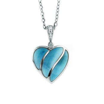 Alamea Collection Sterling Silver 3-Section Heart Pendant with Larimar