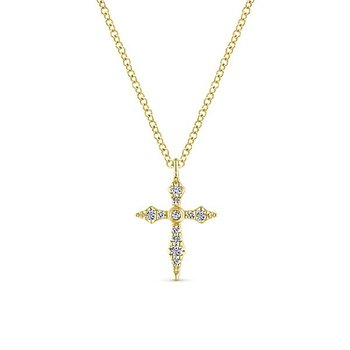 14k Yellow Gold Diamond Cross by Gabriel NY Style #NK5728Y45JJ