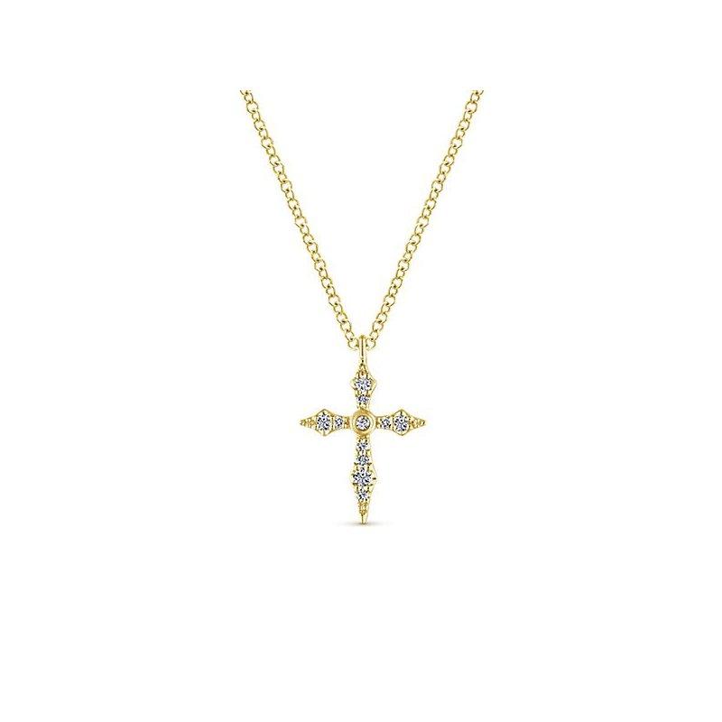 Crosses, Religious & Symbolic Jewelry 14k Yellow Gold Diamond Cross by Gabriel NY Style #NK5728Y45JJ