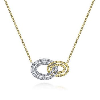 14k Yellow Gold Interlocking Loop Necklace by Gabriel NY