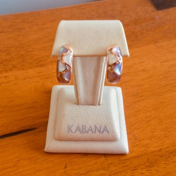 Kabana Pink Mother of Pearl Hoop Earrings with Diamonds