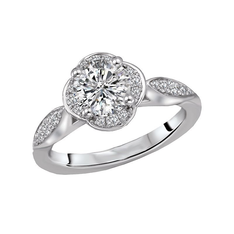 Signature Collection 14k White Gold Scalloped Halo Bridal Engagement Ring