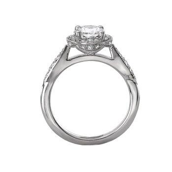 14k White Gold Scalloped Halo Bridal Engagement Ring
