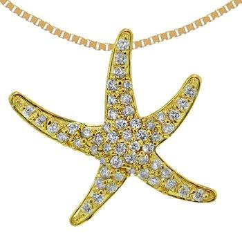 14k Yellow Gold Diamond Starfish Pendant