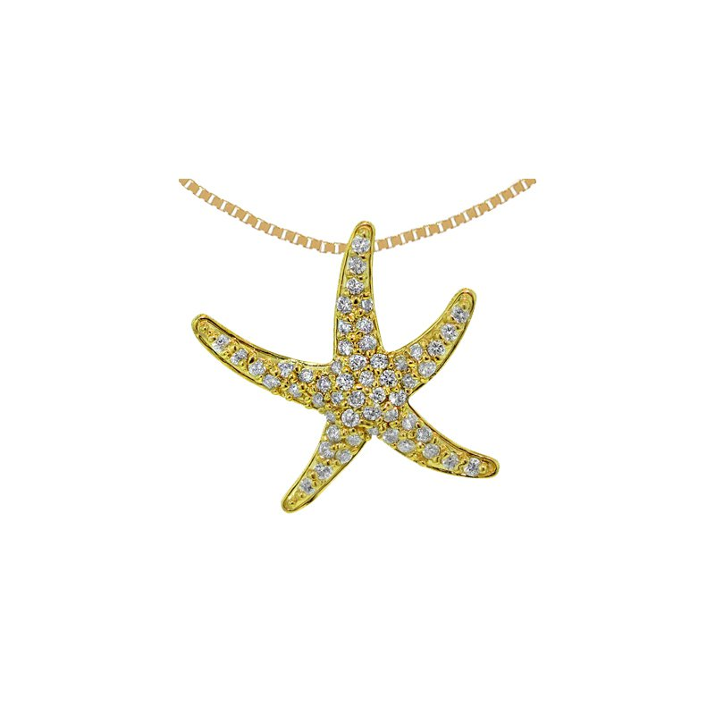 Sealife Jewelry 14k Yellow Gold Diamond Starfish Pendant