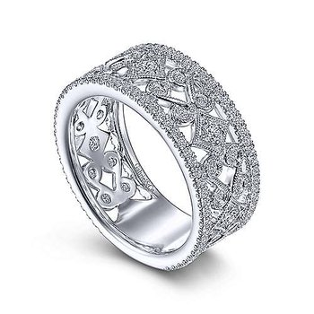14k White Gold Vintage Inspired Ring by Gabriel NY