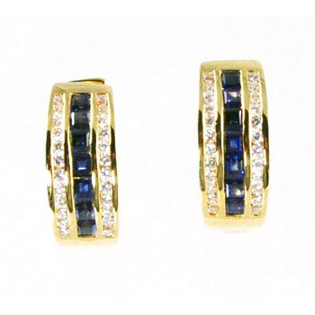 18k Yellow Gold Genuine Blue Sapphire and Diamond Hoop Earrings - #24726