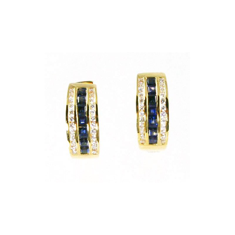 Signature Collection 18k Yellow Gold Genuine Blue Sapphire and Diamond Hoop Earrings - #24726