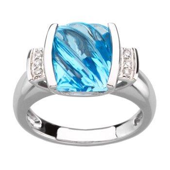 Genuine Carved Swiss Blue Topaz & Diamond Ring