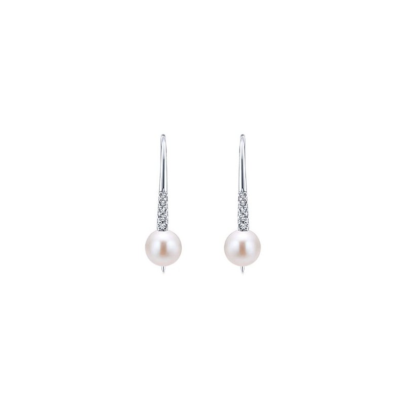Signature Collection From the Pearl Collection 14k White Gold Drop Diamond and Cultured Pearl Earrings