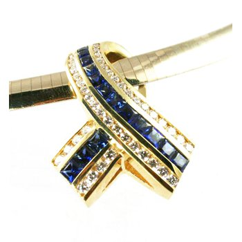 18k Yellow Gold Genuine Blue Sapphire and Diamond Slide Pendant - #28807