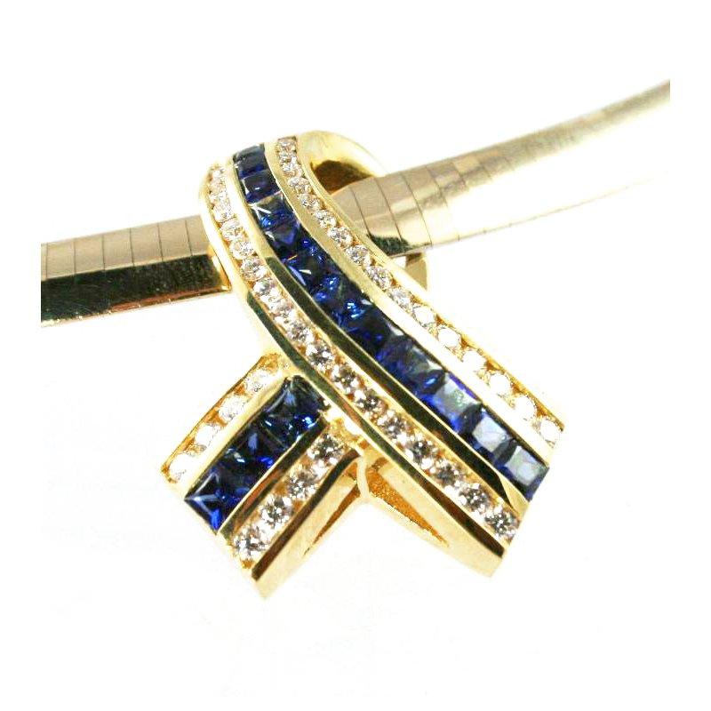 Signature Collection 18k Yellow Gold Genuine Blue Sapphire and Diamond Slide Pendant - #28807