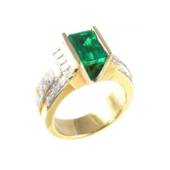 Genuine Emerald and Diamond Ring in 18k Yellow Gold - 19815