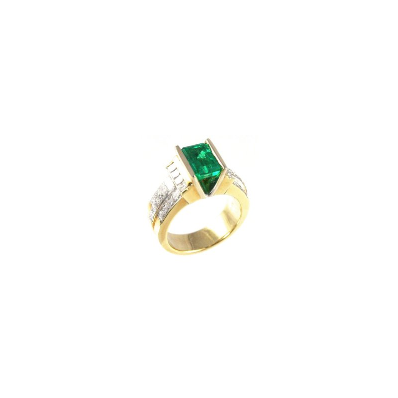 Signature Collection Genuine Emerald and Diamond Ring in 18k Yellow Gold - 19815