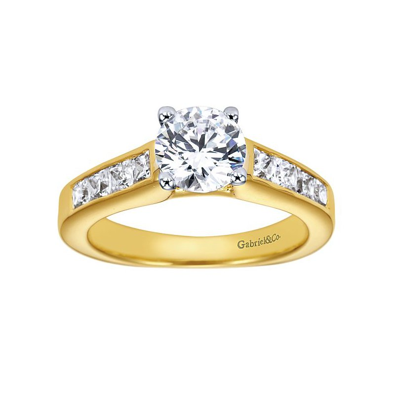 Gabriel NY 14k Yellow Gold Channel Set Diamond Engagement Ring by Gabriel NY