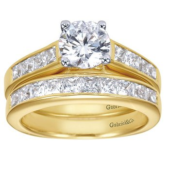 14k Yellow Gold Channel Set Diamond Engagement Ring by Gabriel NY