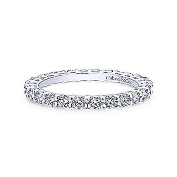 14k White Gold Shared Prong Eternity Ring
