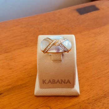 Kabana White Mother of Pearl and Diamond Ring #34469