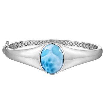 Alamea Sterling Silver Bangle Bracelet with Oval Larimar