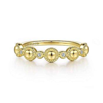 14k Yellow Gold Station Diamond Ring by Gabriel NY