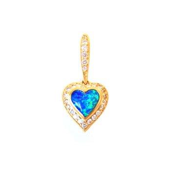 Kabana Australian Opal Inlay & Diamond Heart Pendant