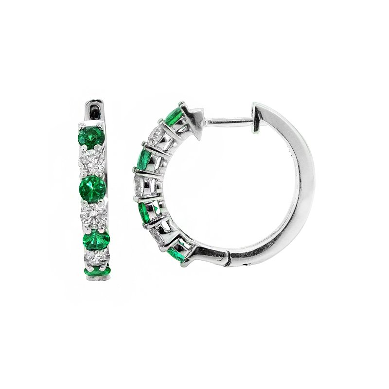 Signature Collection Genuine Emerald and Diamond Hoop Earrings in 14k White Gold