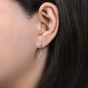 14k White Gold Teardrop Diamond Earrings by Gabriel NY