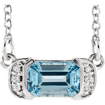 14k White Gold Aquamarine and .04ctw Diamond Necklace.