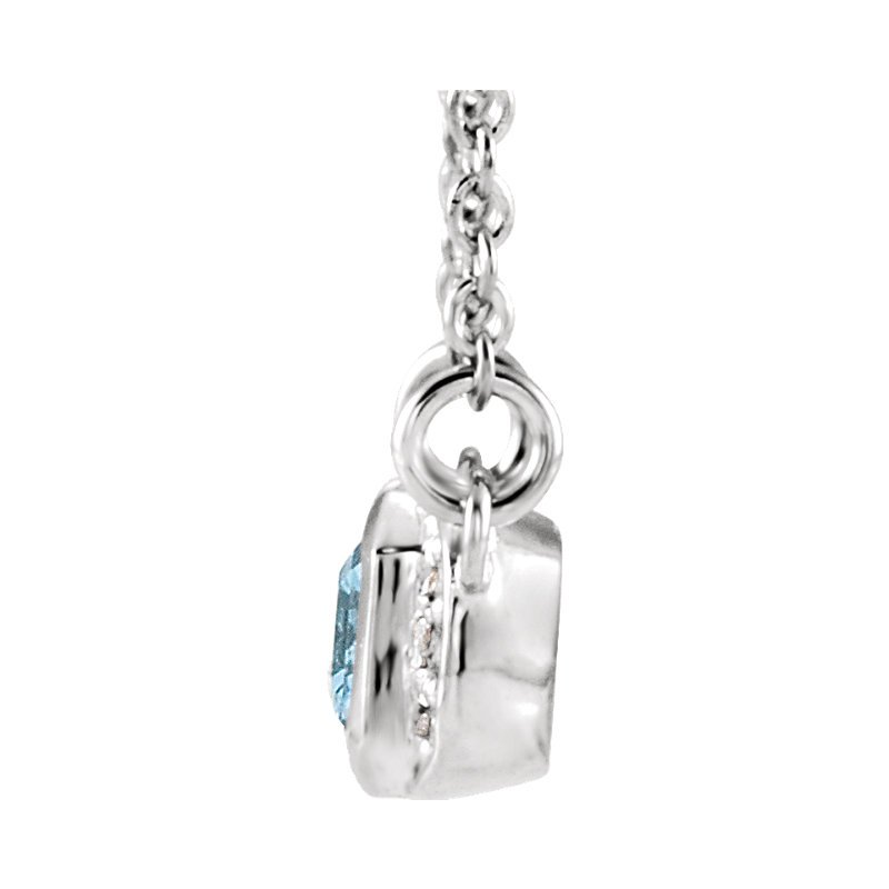 Signature Collection 14k White Gold Aquamarine and .04ctw Diamond Necklace.