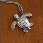 Kovel Sealife Sterling Silver and 18k Gold Plated Crawling Sea Turtle Pendant with White Mother of Pearl Inlay