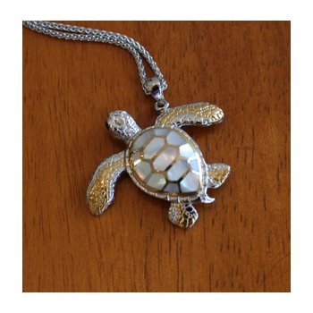 Sterling Silver and 18k Gold Plated Crawling Sea Turtle Pendant with White Mother of Pearl Inlay