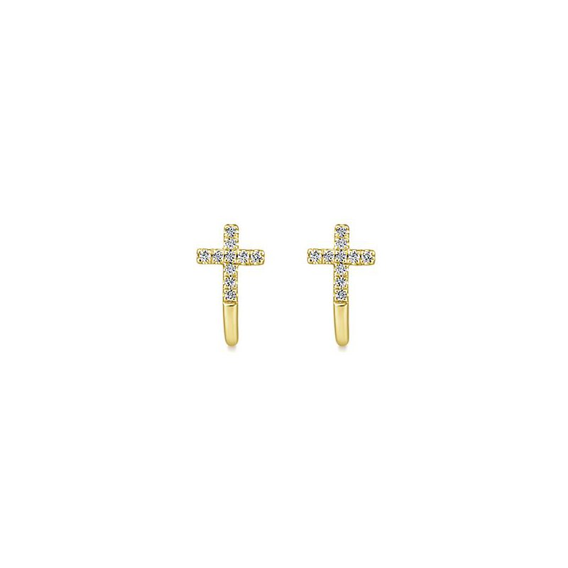 Signature Collection 14k Yellow Gold Cross Diamond Earrings by Gabriel NY