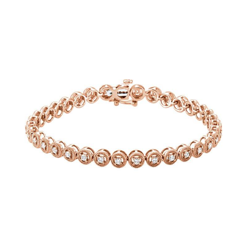 Signature Collection 14k Rose Gold 1ctw Diamond Tennis Bracelet - ELI69492SS - Rose