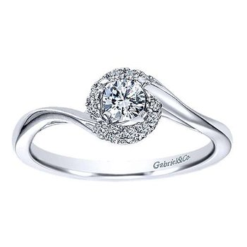 Adore Collection 14k White Gold Nigela Swirl Diamond Engagement Ring by Gabriel NY