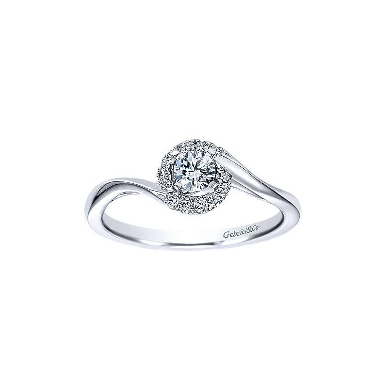 Gabriel NY Adore Collection 14k White Gold Nigela Swirl Diamond Engagement Ring by Gabriel NY