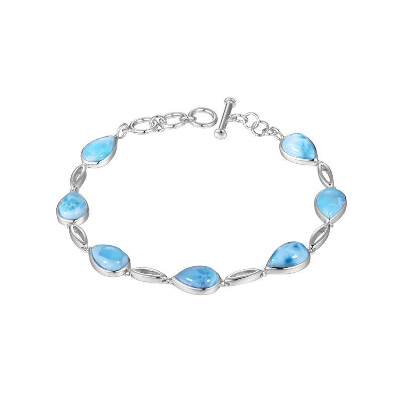 Alamea Larimar  Sterling Silver Teardrop Bracelet with Larimar