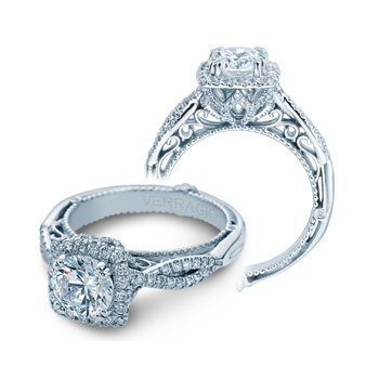 Verragio Venetian 5062CU - 18k White Gold Cushion Halo Diamond Twist Band Engagement Ring by Verragio