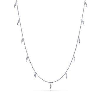 """14k White Gold 36"""" Diamond Station Necklace by Gabriel NY - Style #NK5787-36W"""