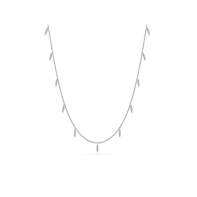 "Signature Collection 14k White Gold 36"" Diamond Station Necklace by Gabriel NY - Style #NK5787-36W"
