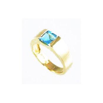 Genuine Blue Topaz Ring in 14k Yellow Gold