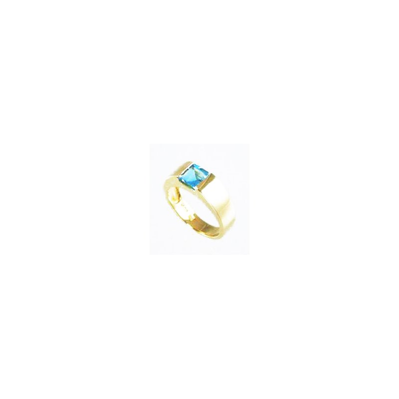 Signature Collection Genuine Blue Topaz Ring in 14k Yellow Gold