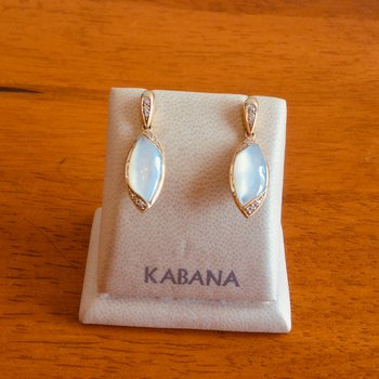 14k Yellow Gold Marquise Shaped Earrings by Kabana with White Mother of Pearl and Diamond