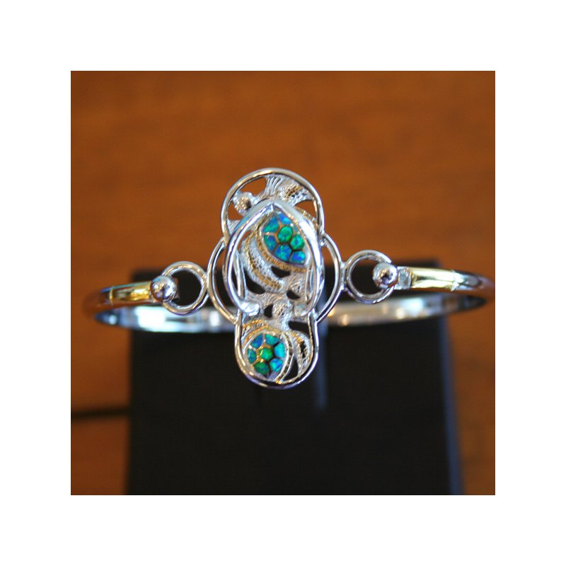 Kovel Sealife Sterling Silver and 18k Gold Plate Flip Flop Turtle Motif Bangle Topper with Kyocera Lab Created Opal