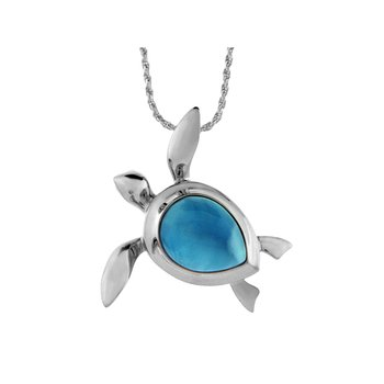 Sterling Silver Turtle Pendant with Larimar