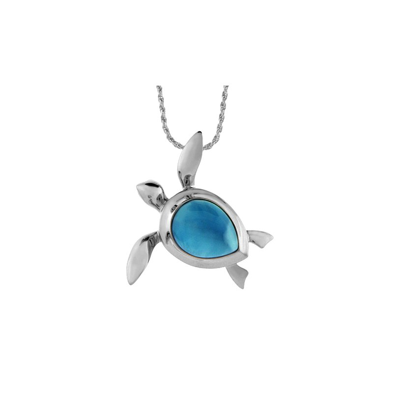 Sealife Jewelry Sterling Silver Turtle Pendant with Larimar