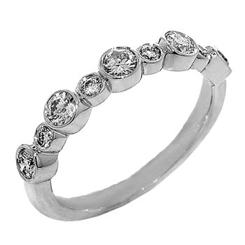 14k White Gold Ladies' Bezel Set Diamond Anniversary Ring or Wedding Ring