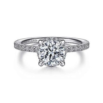 14k White Gold Hidden Halo Engagement Ring by Gabriel NY