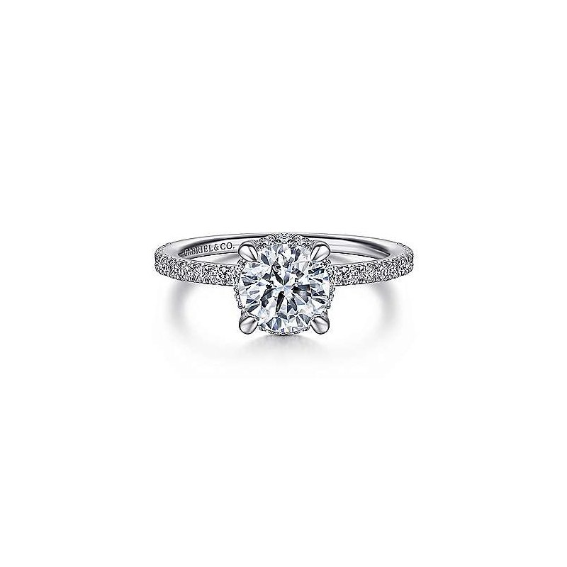 Gabriel NY 14k White Gold Hidden Halo Engagement Ring by Gabriel NY